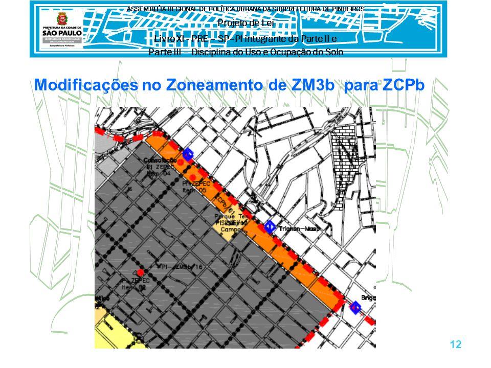 Modificações no Zoneamento de ZM3b para ZCPb