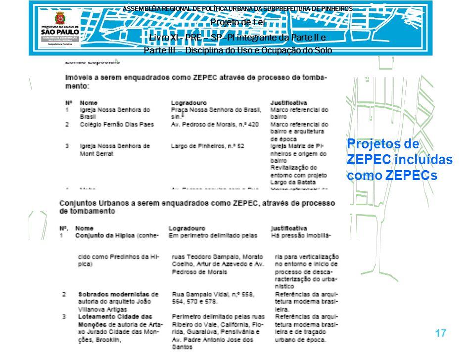 Projetos de ZEPEC incluídas como ZEPECs