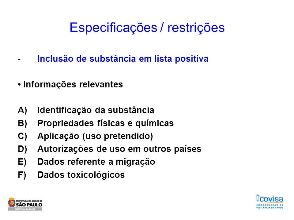 Especificações / restrições