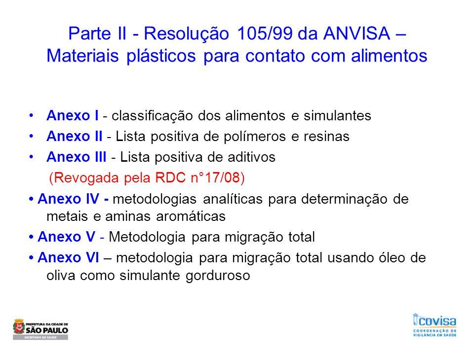 Parte II - Resolução 105/99 da ANVISA – Materiais plásticos para contato com alimentos