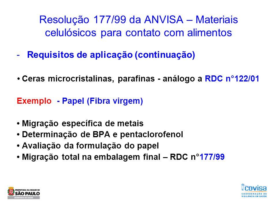 Resolução 177/99 da ANVISA – Materiais celulósicos para contato com alimentos