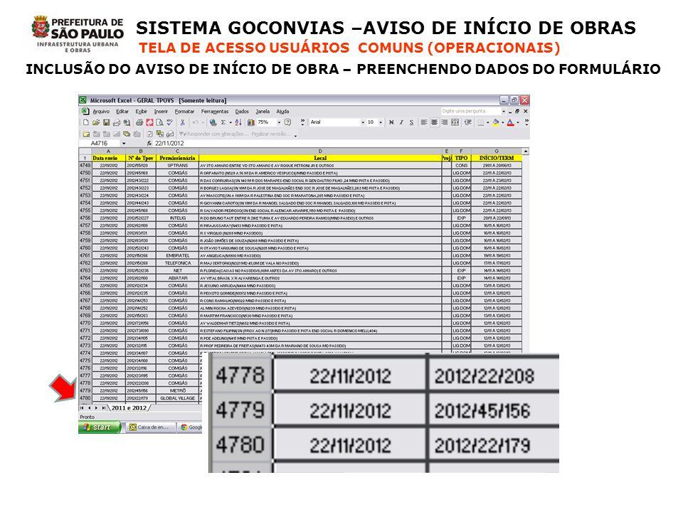 SISTEMA GOCONVIAS –AVISO DE INÍCIO DE OBRAS