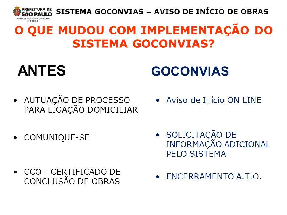 O QUE MUDOU COM IMPLEMENTAÇÃO DO SISTEMA GOCONVIAS