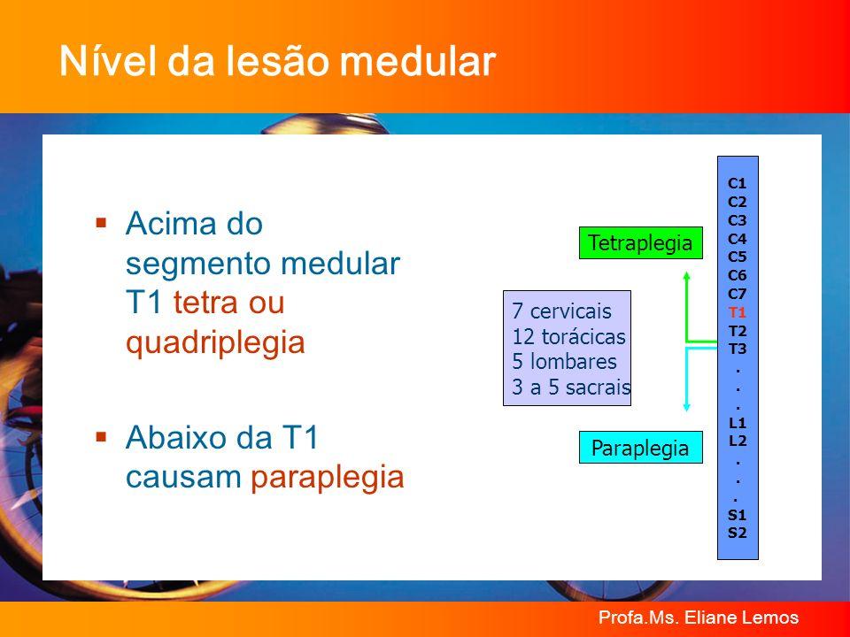 Nível da lesão medular7 cervicais. 12 torácicas. 5 lombares. 3 a 5 sacrais. C1. C2. C3. C4. C5. C6.