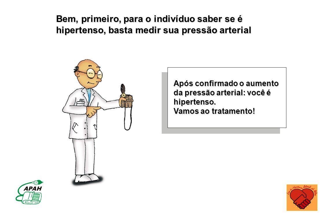 Bem, primeiro, para o indivíduo saber se é hipertenso, basta medir sua pressão arterial