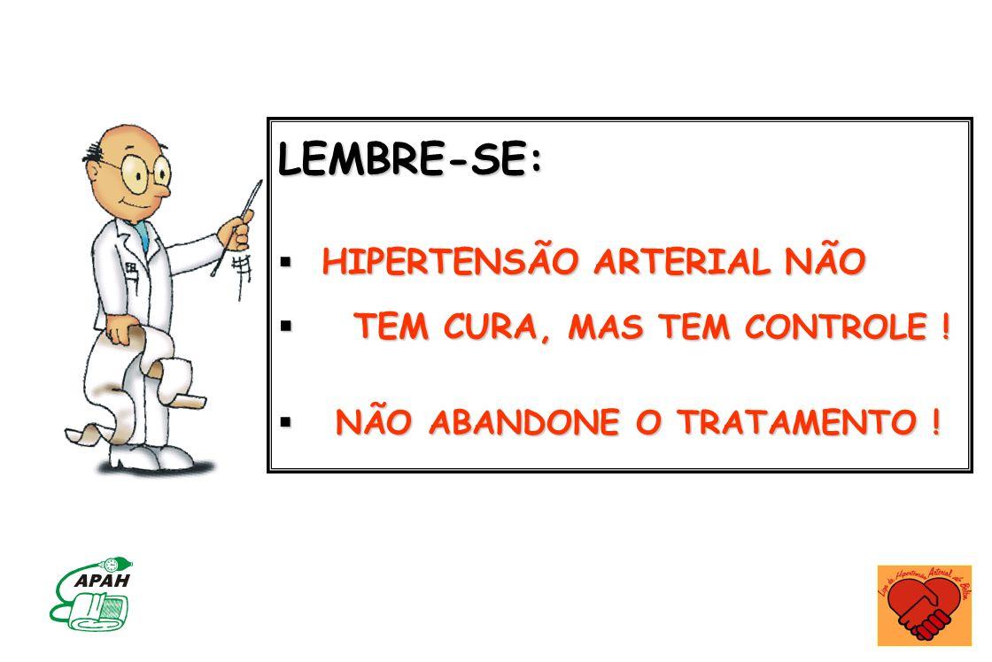 LEMBRE-SE: TEM CURA, MAS TEM CONTROLE ! HIPERTENSÃO ARTERIAL NÃO