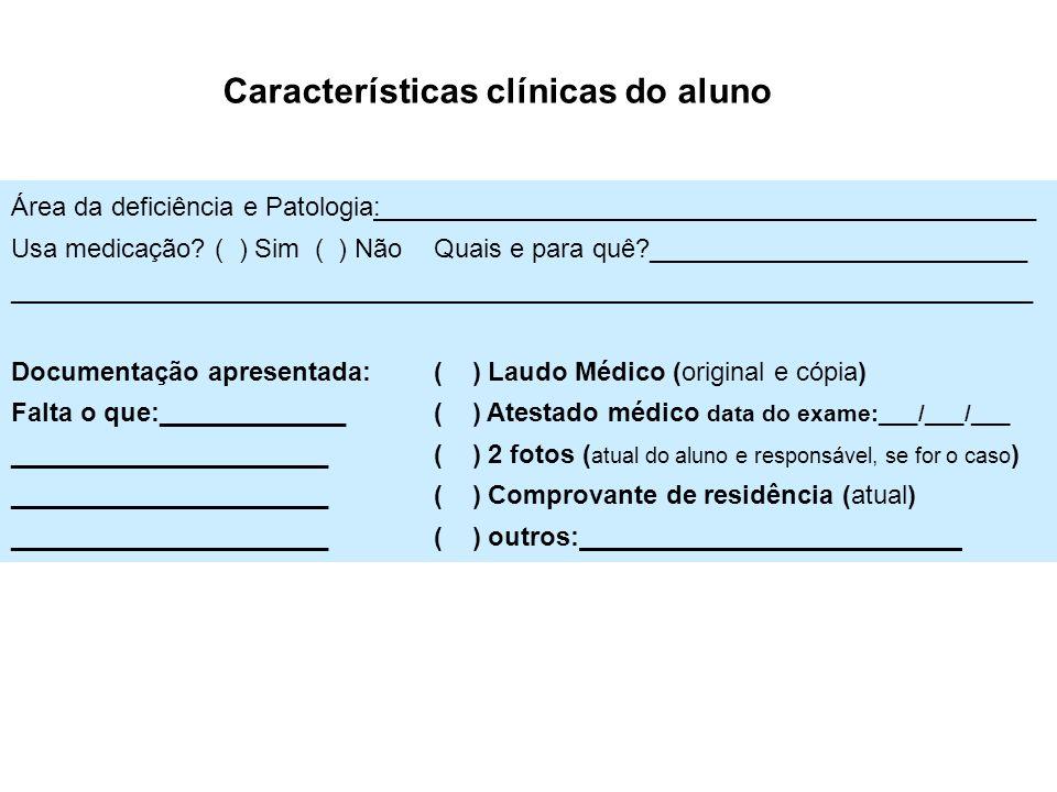 Características clínicas do aluno