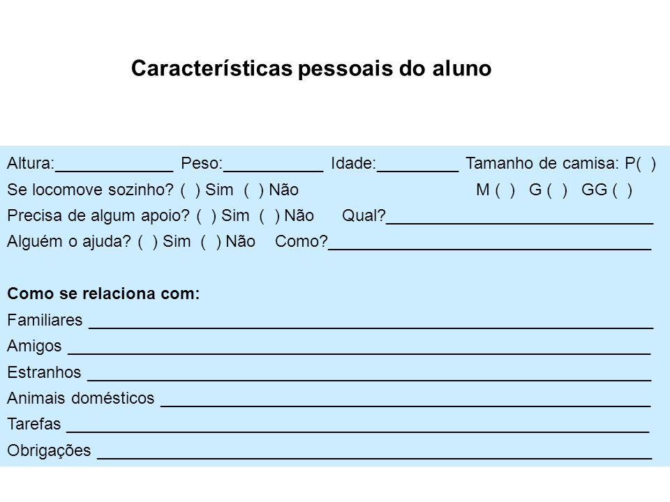 Características pessoais do aluno