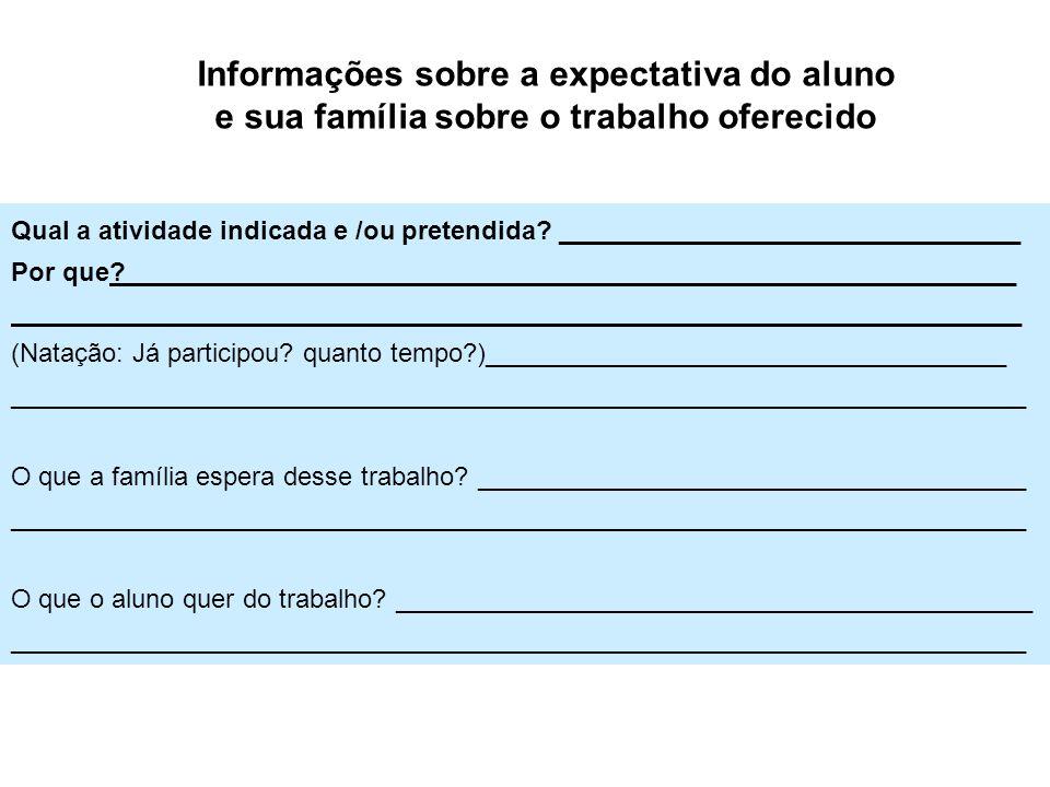 Informações sobre a expectativa do aluno e sua família sobre o trabalho oferecido