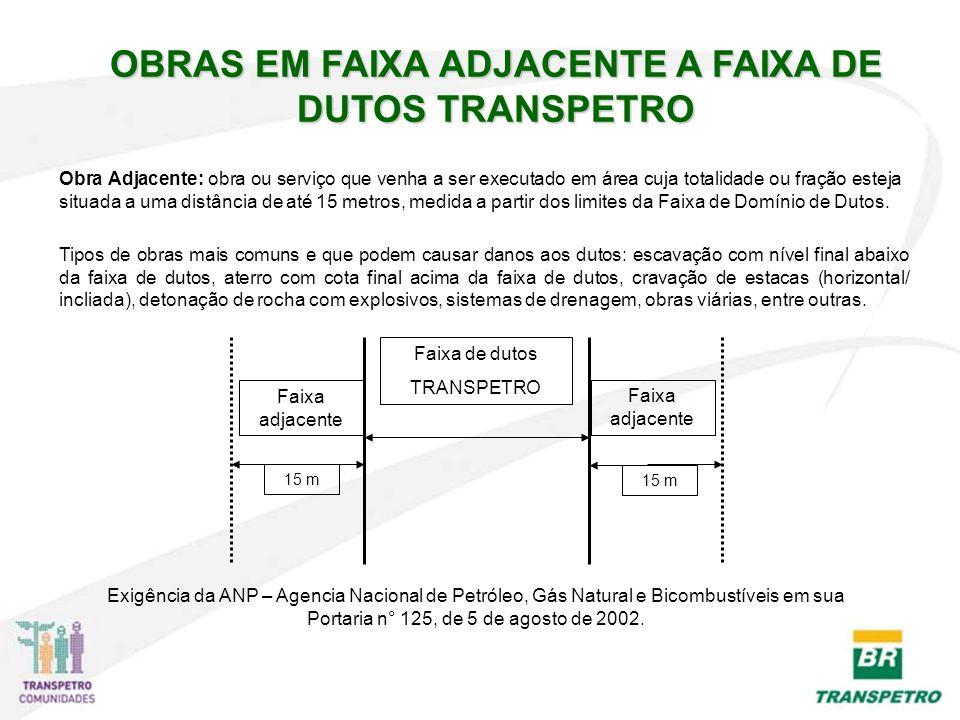 OBRAS EM FAIXA ADJACENTE A FAIXA DE DUTOS TRANSPETRO