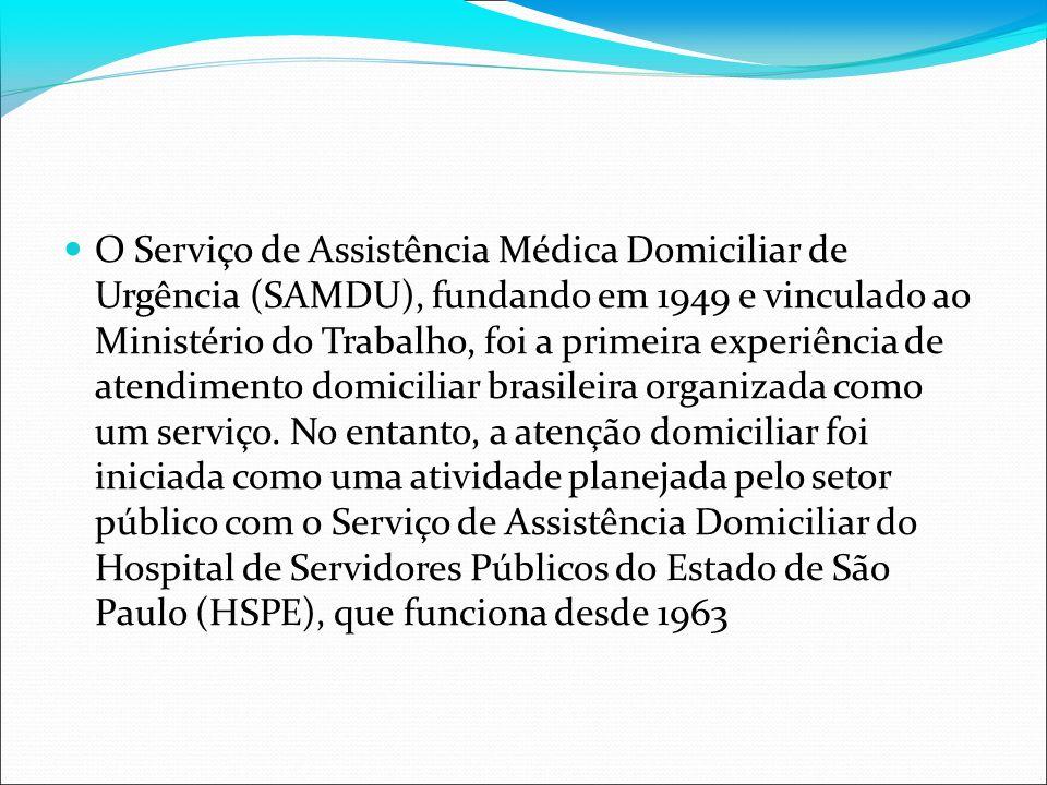 O Serviço de Assistência Médica Domiciliar de Urgência (SAMDU), fundando em 1949 e vinculado ao Ministério do Trabalho, foi a primeira experiência de atendimento domiciliar brasileira organizada como um serviço.