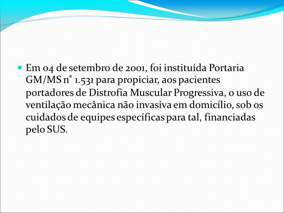 Em 04 de setembro de 2001, foi instituída Portaria GM/MS n° 1