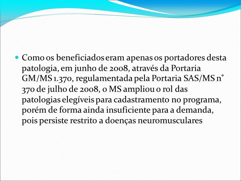 Como os beneficiados eram apenas os portadores desta patologia, em junho de 2008, através da Portaria GM/MS 1.370, regulamentada pela Portaria SAS/MS n° 370 de julho de 2008, o MS ampliou o rol das patologias elegíveis para cadastramento no programa, porém de forma ainda insuficiente para a demanda, pois persiste restrito a doenças neuromusculares