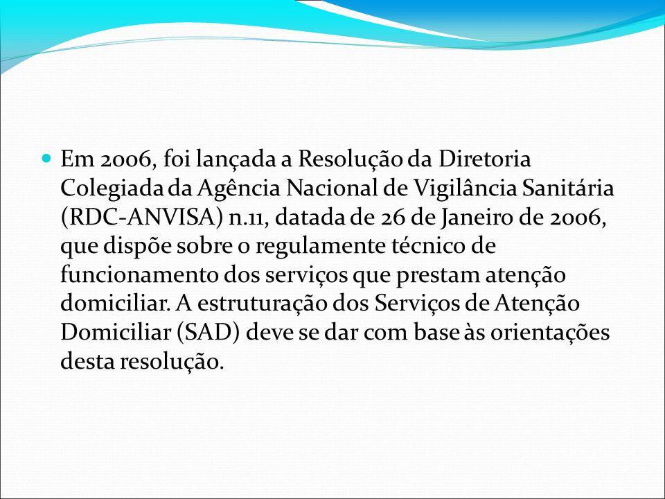 Em 2006, foi lançada a Resolução da Diretoria Colegiada da Agência Nacional de Vigilância Sanitária (RDC-ANVISA) n.11, datada de 26 de Janeiro de 2006, que dispõe sobre o regulamente técnico de funcionamento dos serviços que prestam atenção domiciliar.