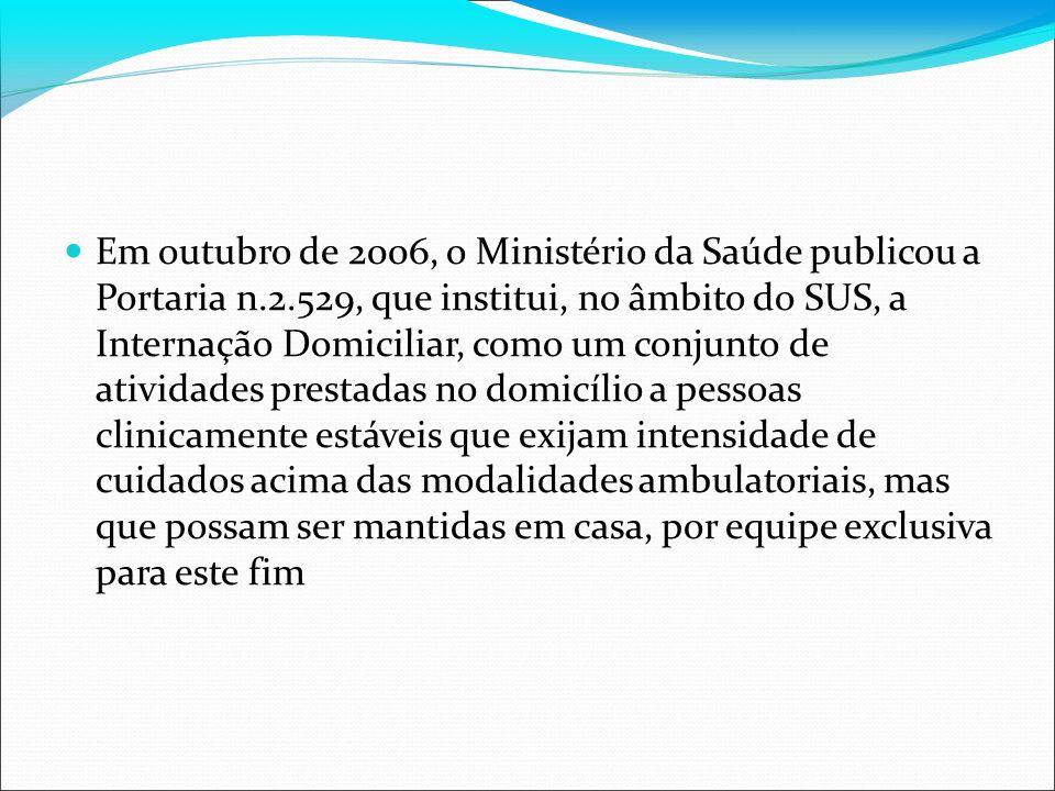 Em outubro de 2006, o Ministério da Saúde publicou a Portaria n. 2