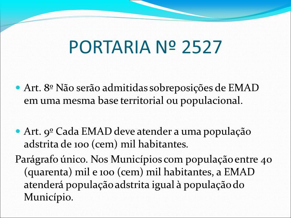 PORTARIA Nº 2527 Art. 8º Não serão admitidas sobreposições de EMAD em uma mesma base territorial ou populacional.