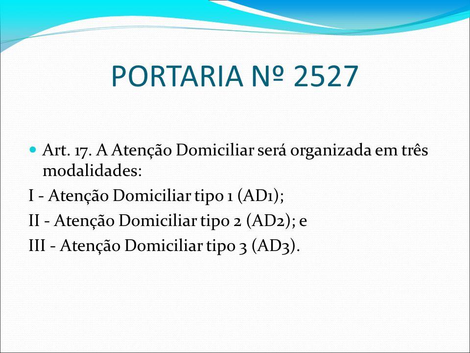 PORTARIA Nº 2527 Art. 17. A Atenção Domiciliar será organizada em três modalidades: I - Atenção Domiciliar tipo 1 (AD1);