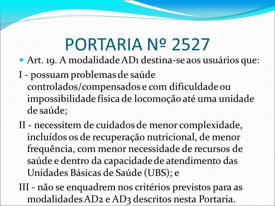 PORTARIA Nº 2527 Art. 19. A modalidade AD1 destina-se aos usuários que: