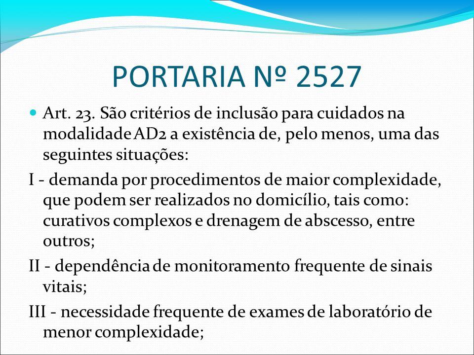 PORTARIA Nº 2527Art. 23. São critérios de inclusão para cuidados na modalidade AD2 a existência de, pelo menos, uma das seguintes situações: