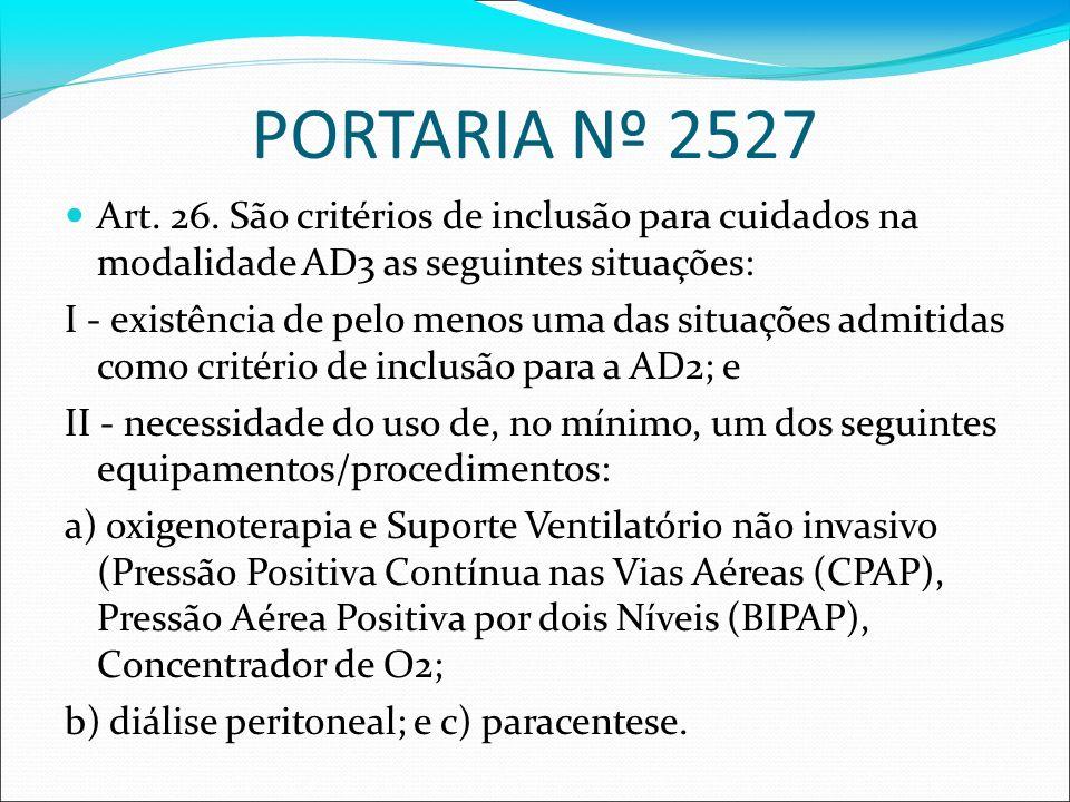 PORTARIA Nº 2527Art. 26. São critérios de inclusão para cuidados na modalidade AD3 as seguintes situações: