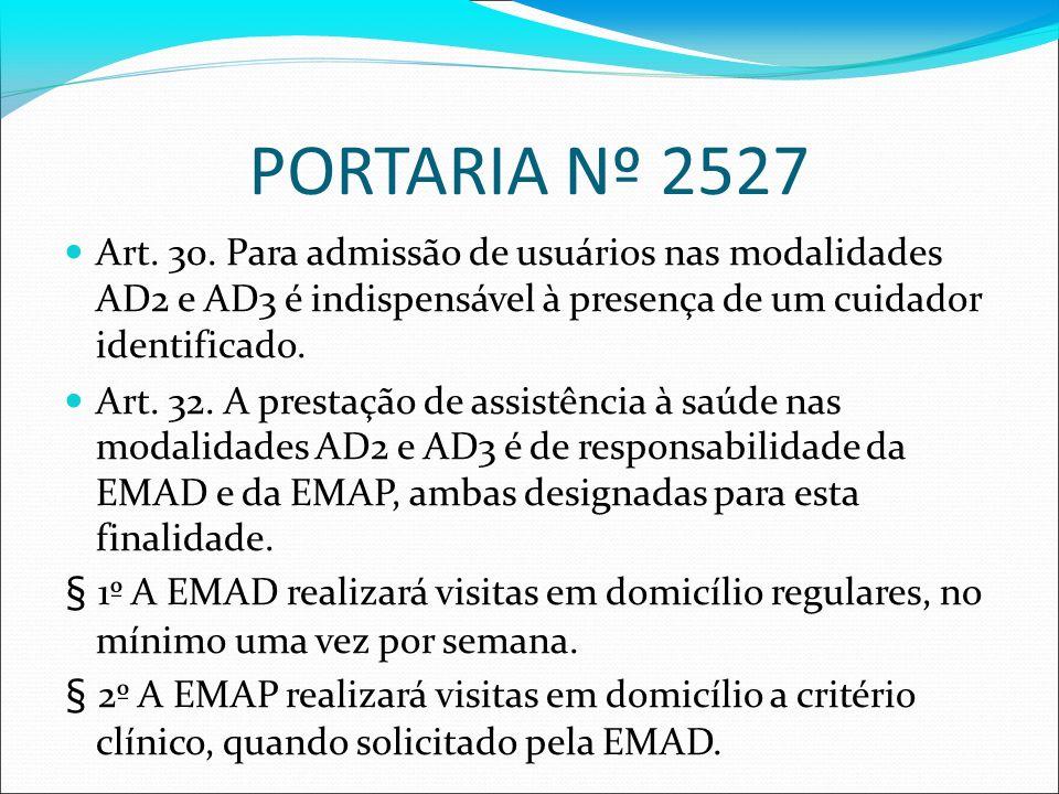 PORTARIA Nº 2527Art. 30. Para admissão de usuários nas modalidades AD2 e AD3 é indispensável à presença de um cuidador identificado.