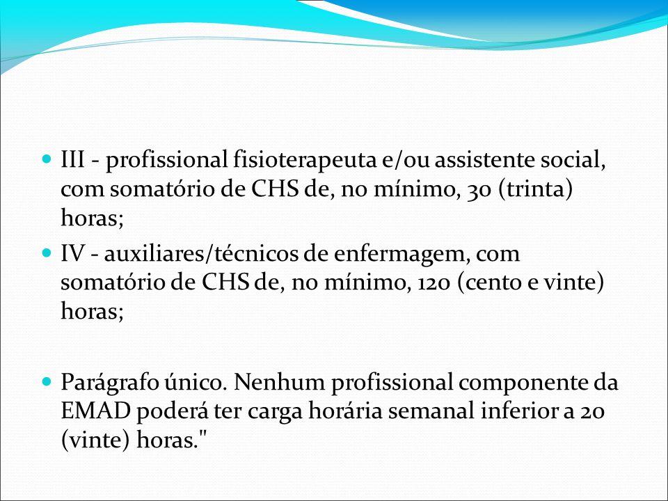 III - profissional fisioterapeuta e/ou assistente social, com somatório de CHS de, no mínimo, 30 (trinta) horas;