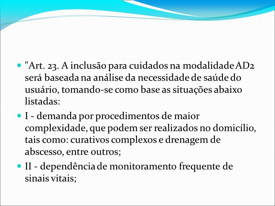 Art. 23. A inclusão para cuidados na modalidade AD2 será baseada na análise da necessidade de saúde do usuário, tomando-se como base as situações abaixo listadas: