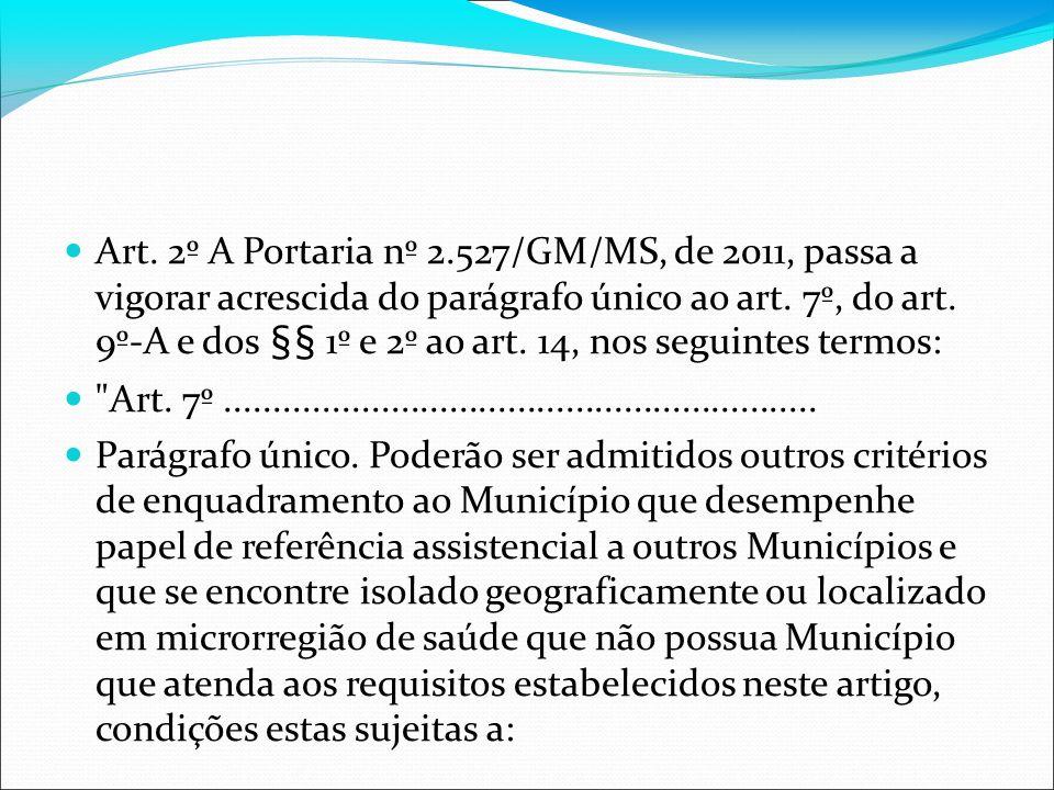 Art. 2º A Portaria nº 2.527/GM/MS, de 2011, passa a vigorar acrescida do parágrafo único ao art. 7º, do art. 9º-A e dos §§ 1º e 2º ao art. 14, nos seguintes termos:
