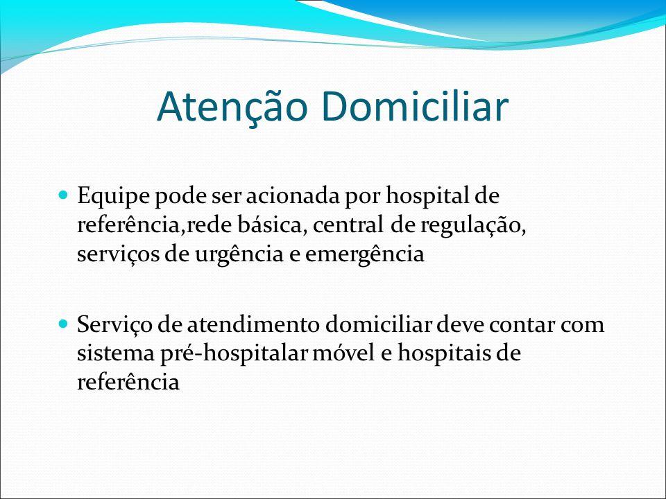 Atenção DomiciliarEquipe pode ser acionada por hospital de referência,rede básica, central de regulação, serviços de urgência e emergência.