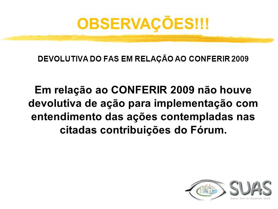 DEVOLUTIVA DO FAS EM RELAÇÃO AO CONFERIR 2009