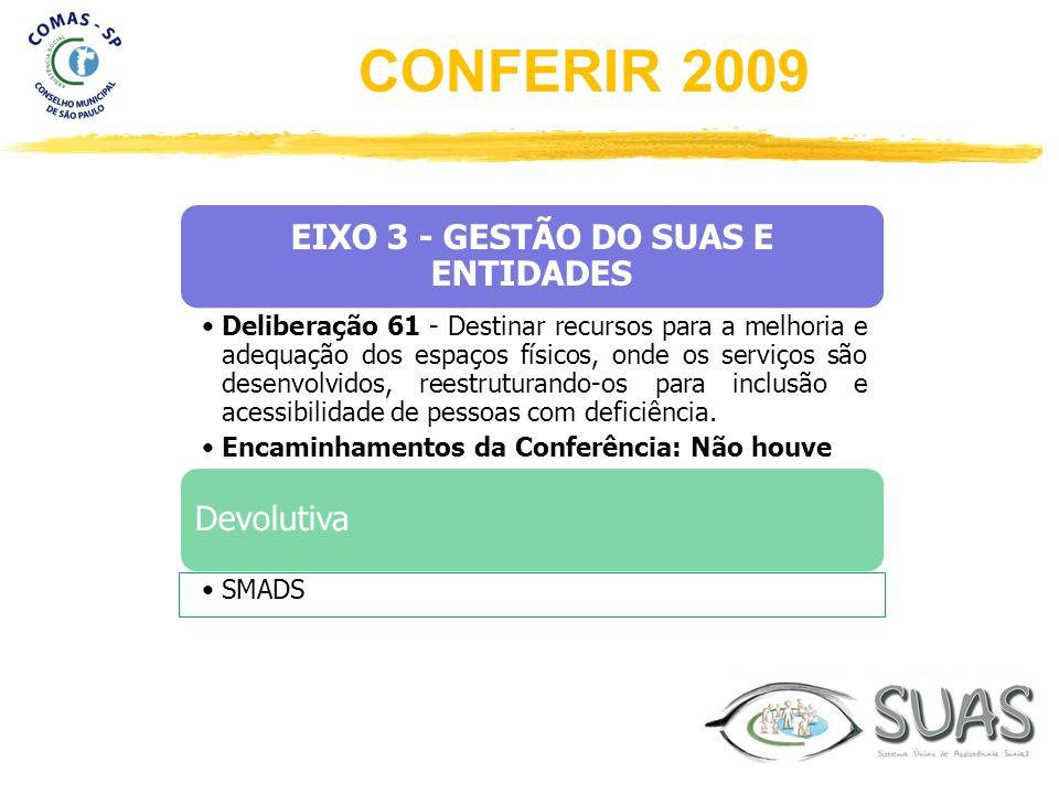EIXO 3 - GESTÃO DO SUAS E ENTIDADES