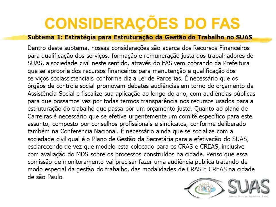 CONSIDERAÇÕES DO FAS Subtema 1: Estratégia para Estruturação da Gestão do Trabalho no SUAS.