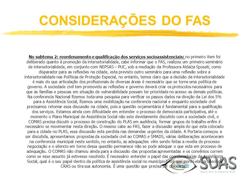 CONSIDERAÇÕES DO FAS