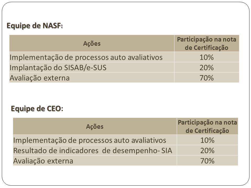 Implementação de processos auto avaliativos 10%
