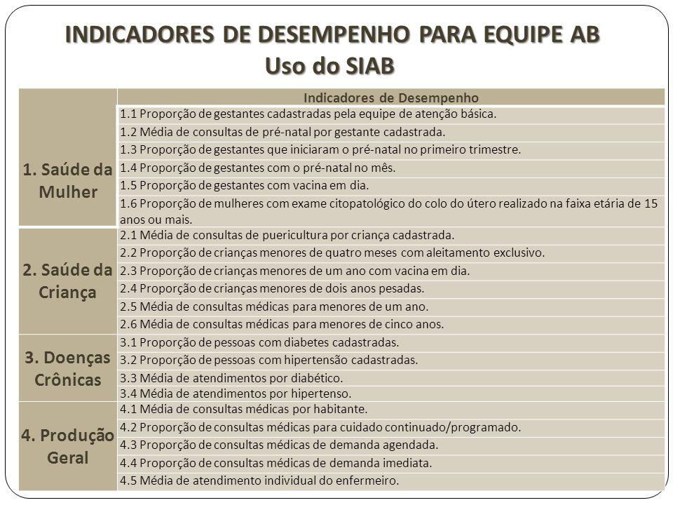 INDICADORES DE DESEMPENHO PARA EQUIPE AB Indicadores de Desempenho