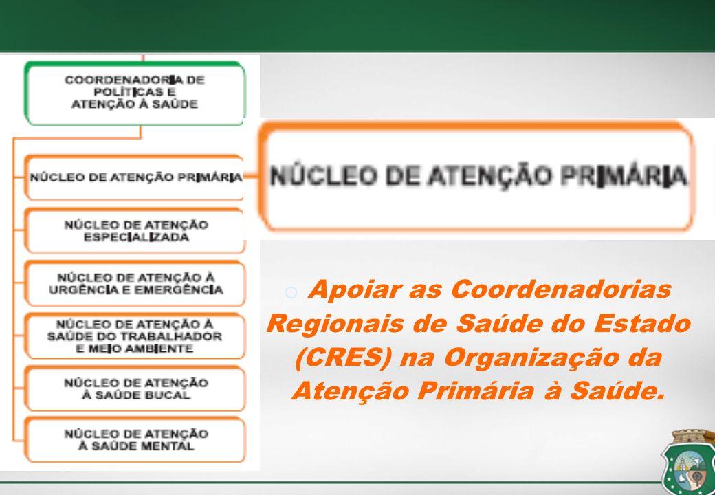 Apoiar as Coordenadorias Regionais de Saúde do Estado (CRES) na Organização da Atenção Primária à Saúde.