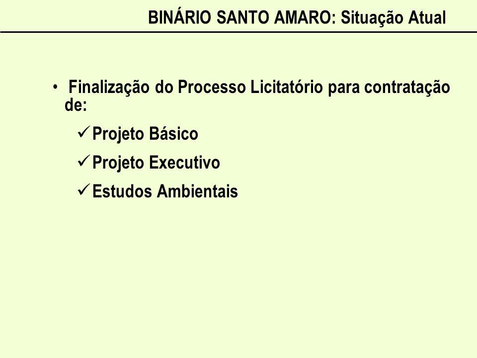BINÁRIO SANTO AMARO: Situação Atual