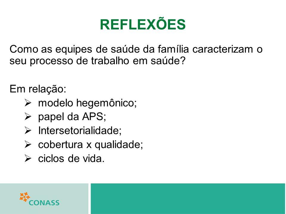 REFLEXÕES Como as equipes de saúde da família caracterizam o seu processo de trabalho em saúde Em relação:
