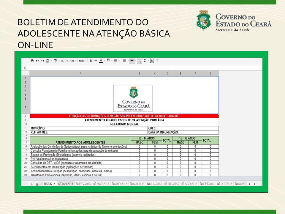 BOLETIM DE ATENDIMENTO DO ADOLESCENTE NA ATENÇÃO BÁSICA ON-LINE