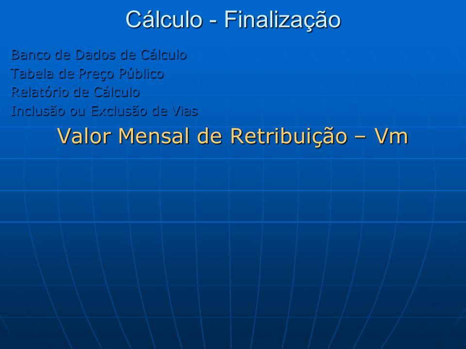 Cálculo - Finalização Banco de Dados de Cálculo