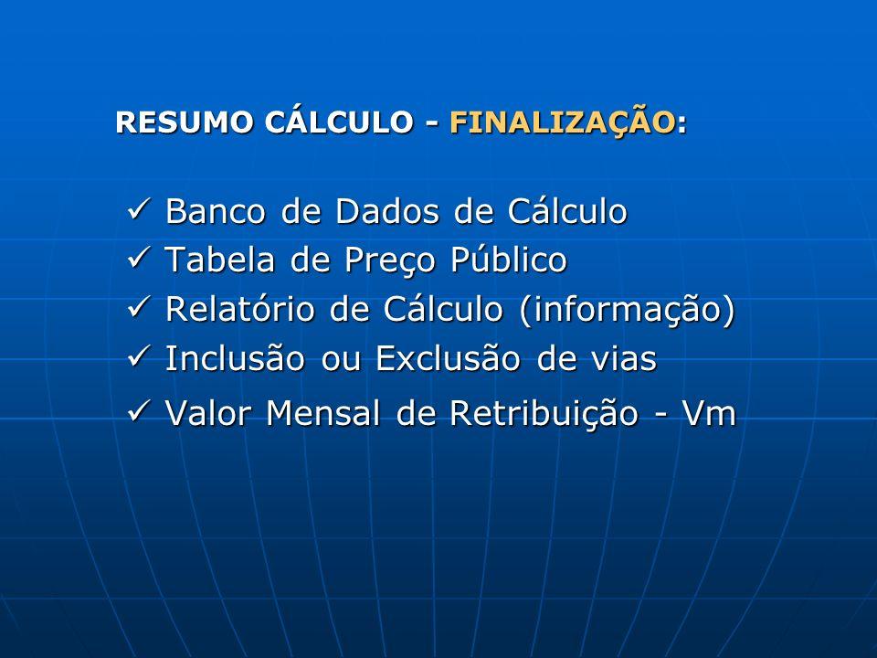 RESUMO CÁLCULO - FINALIZAÇÃO: