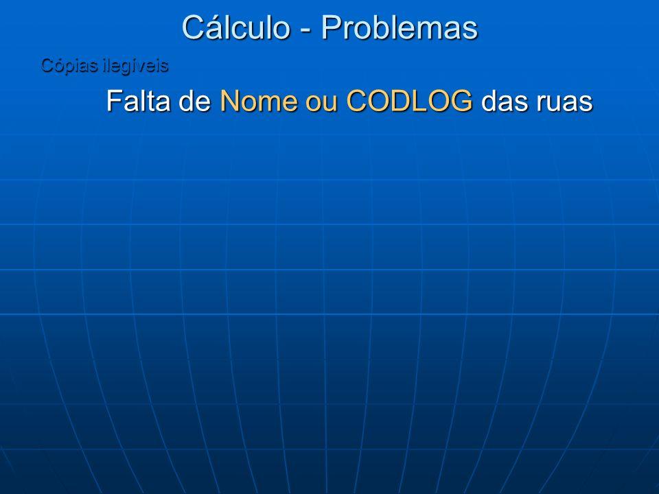 Cálculo - Problemas Cópias ilegíveis Falta de Nome ou CODLOG das ruas