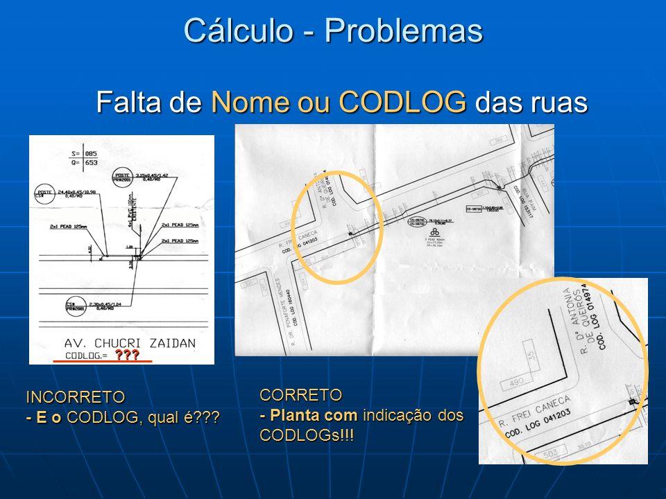 Cálculo - Problemas Falta de Nome ou CODLOG das ruas