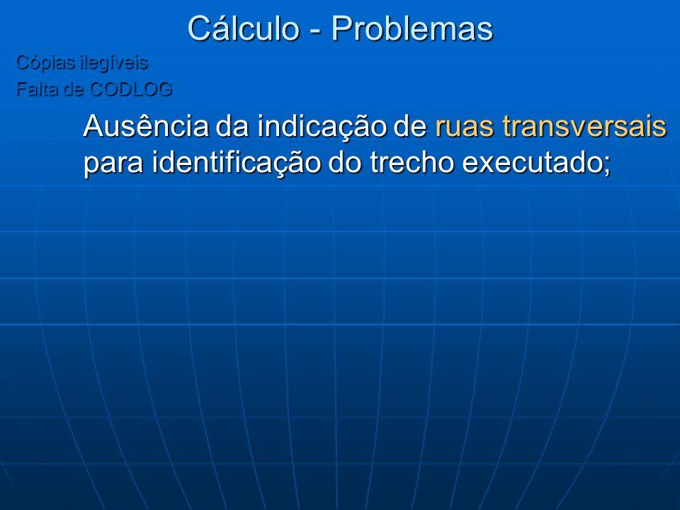 Cálculo - Problemas Cópias ilegíveis. Falta de CODLOG.