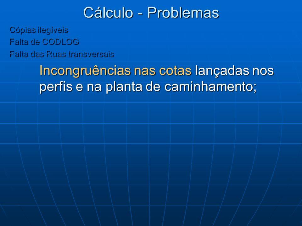 Cálculo - Problemas Cópias ilegíveis. Falta de CODLOG. Falta das Ruas transversais.