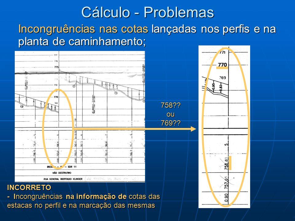 Cálculo - Problemas Incongruências nas cotas lançadas nos perfis e na