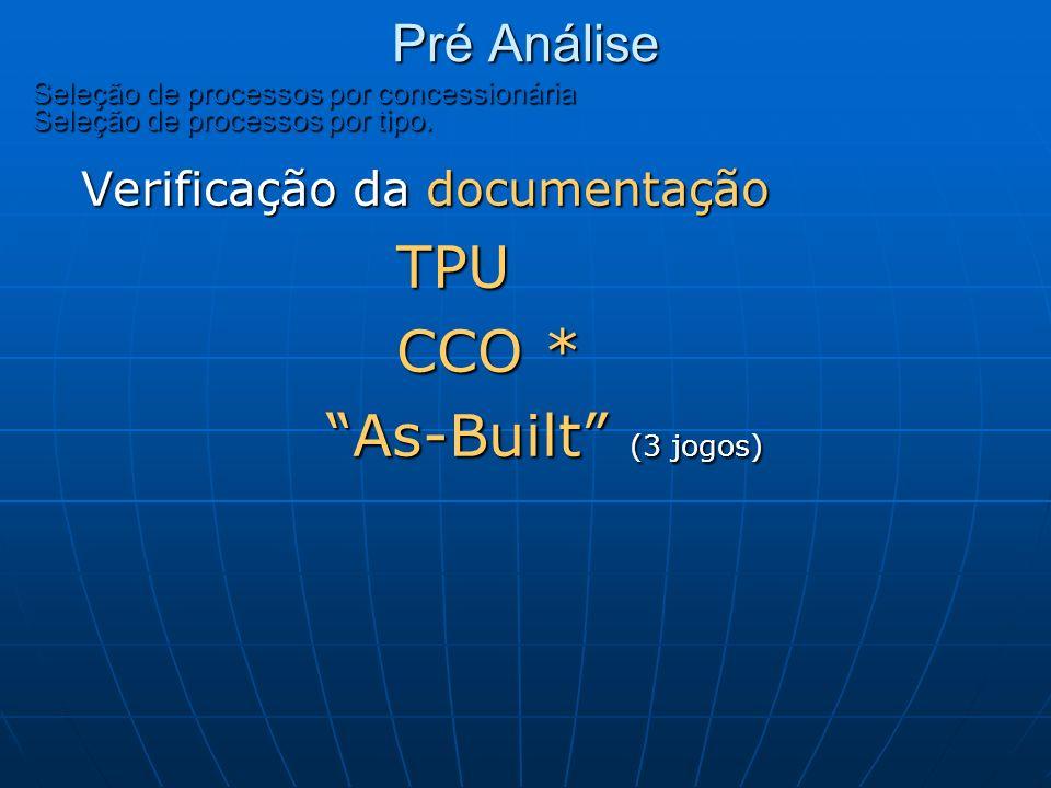 CCO * As-Built (3 jogos) Pré Análise Verificação da documentação TPU