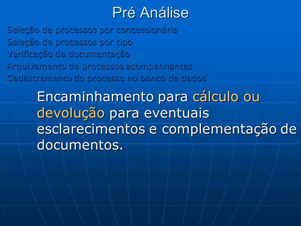 Pré Análise Seleção de processos por concessionária. Seleção de processos por tipo. Verificação da documentação.