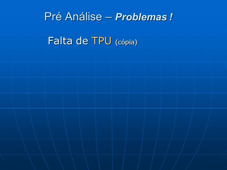 Pré Análise – Problemas !