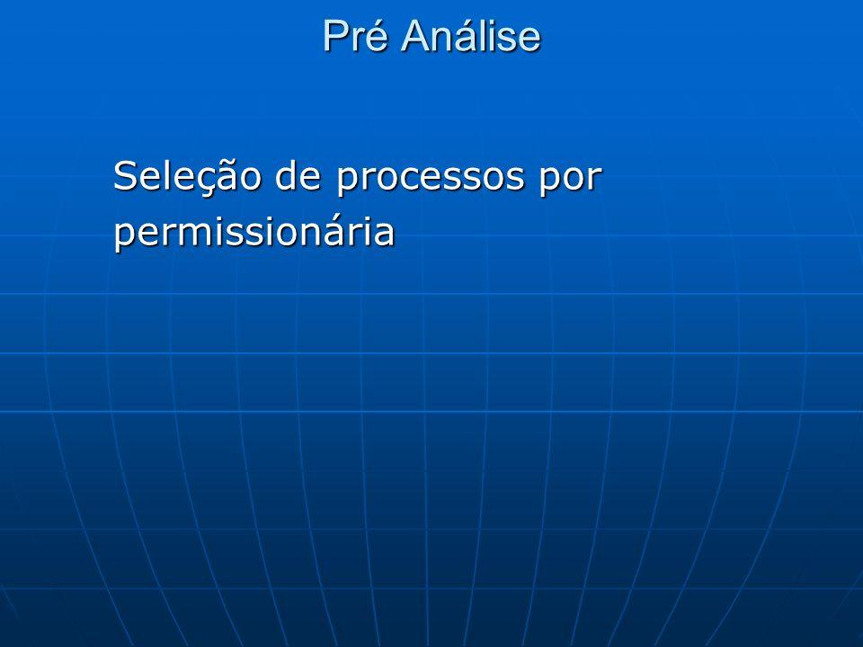 Pré Análise Seleção de processos por permissionária